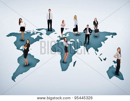 Young business team on world map