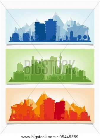 Vector horizontal banners of cityscape. Urban skyline