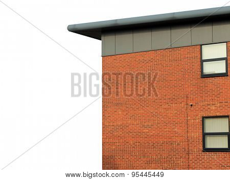 Modern empty office building on a white background with copy space.