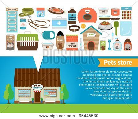 Pet shop. Pets accessories and vet store