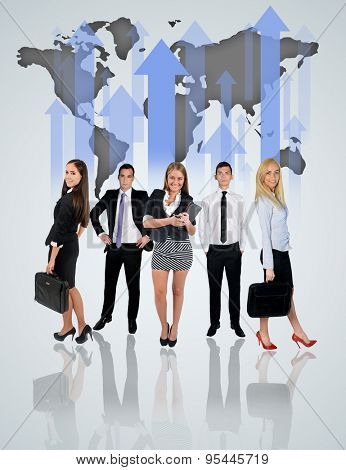 Young business team and world map char on blue background