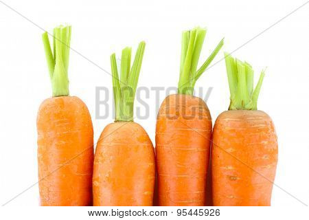 Fresh young carrots isolated on white