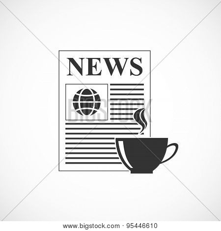 coffee cup with newspaper black icon