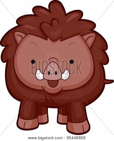 Cutesy Illustration of a Wild Boar Flashing a Wide Smile