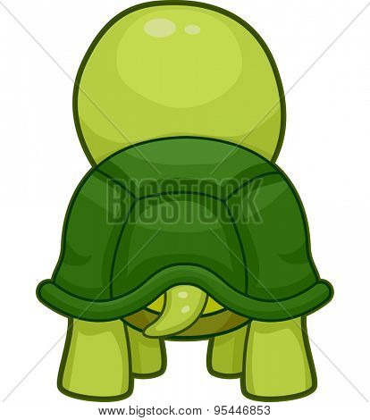 Cutesy Illustration Featuring the Back of a Turtle Swinging its Tail