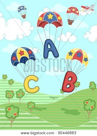 Illustration of Letters of the Alphabet Parachuting Down
