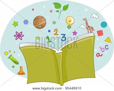 Illustration of an Open Book with Letters and Numbers Sprouting from It