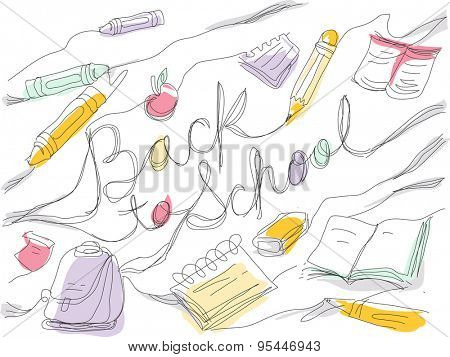 Sketchy Illustration Featuring a Back to School Text Surrounded by School Supplies