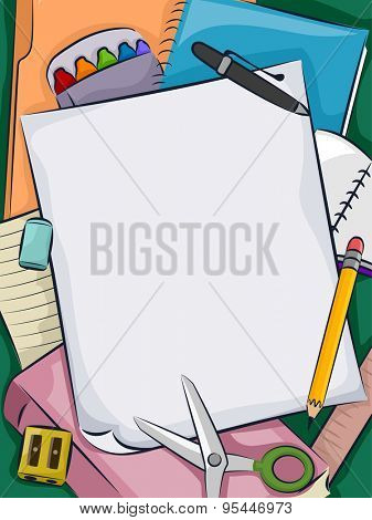 Background Illustration of a Bunch of School Supplies Lying Around