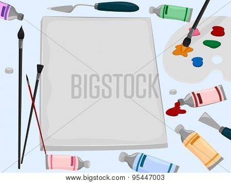 Background Illustration of a Canvas Surrounded by Painting Tools