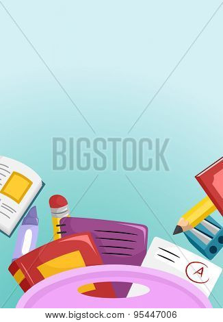 Background Illustration of School Supplies Commonly Found in School Bags