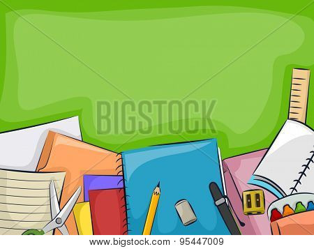 Background Illustration of a Blackboard with a Bunch of School Supplies Lying Below It