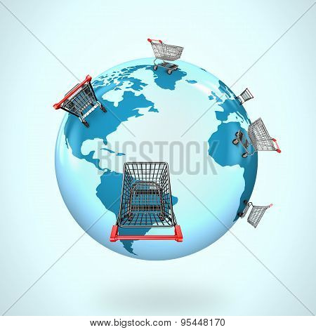 3D Globe With World Map Of Shopping Carts Worldwide