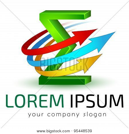 Logo template vector, integral, accounting, banking, science, education