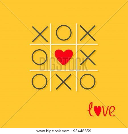Tic Tac Toe Game With Cross And Red Heart Sign Mark Love Card Flat Design Yellow Background