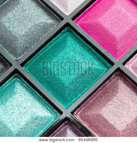 close up of compact eyeshadows