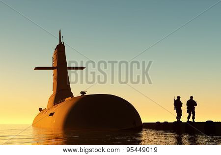 Submarine against the evening sky.