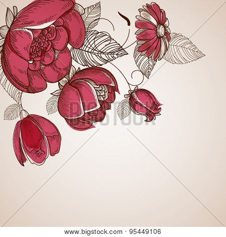 Floral background, flowers branch corner ornament