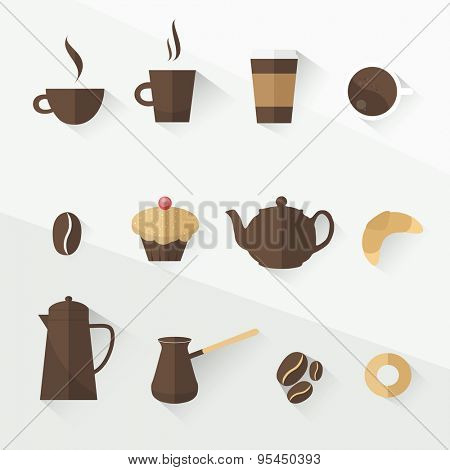 coffee icon set flat design