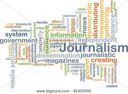 Background concept wordcloud illustration of journalism