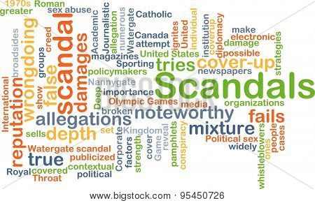 Background concept wordcloud illustration of scandals