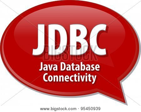 Speech bubble illustration of information technology acronym abbreviation term definition JDBC Java Database Connectivity