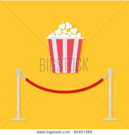 Red Rope Barrier Stanchions Turnstile Popcorn. Cinema Icon In Flat Design Style.