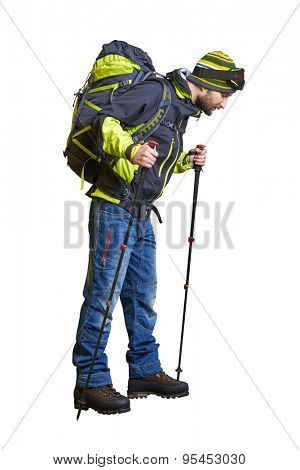 full length portrait of hiker with backpack and hiking poles looking down. isolated on white background