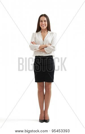 full-length portrait of smiley businesswoman in formal wear with folded hands. isolated on white background