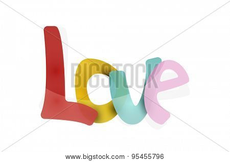 Love word, drawn lettering typographic design element. Hand lettering, handmade calligraphy isolated