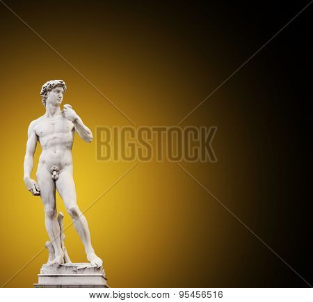 Michelangelo's David. On brown background