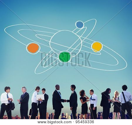 Center Saturn Universe Leadership Responsibility Concept
