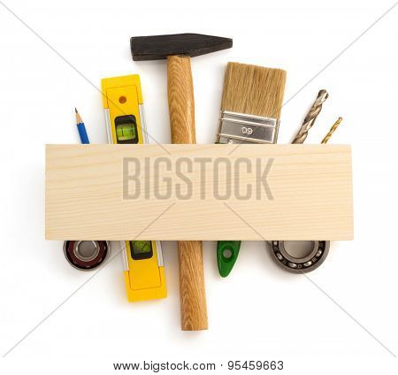 set of tools and instruments isolated on white background