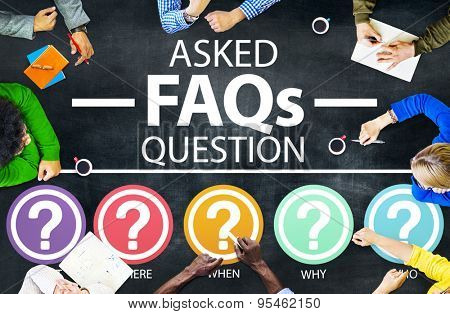 Frequently Asked Questions FAQ Problems Concept