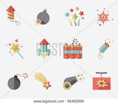 Pyrotechnic icons set, flat design