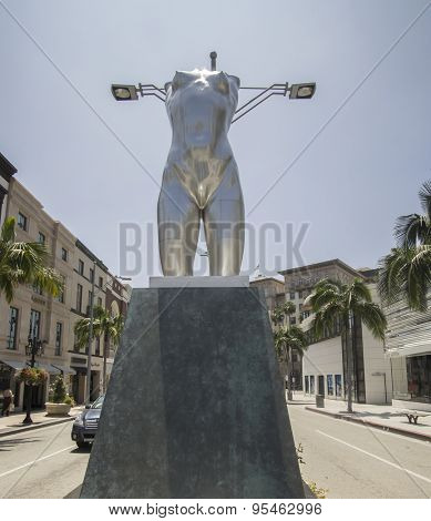 Beverly Hills,CA, June 2nd, 2015.  A 14-feet tall sculpture entitled Torso, created by artist Robert Graham, a focal point of the famed intersection of Rodeo Drive and Dayton Way.