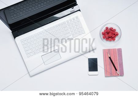 Work Place In The Morning With Raspberries For Breakfast