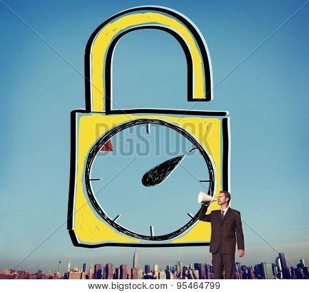 Time Unlock Alarm Clock Punctual Stopwatch Concept
