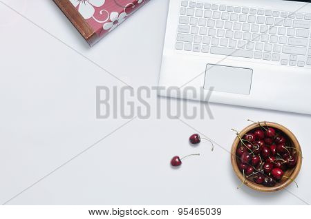 Work Place With Cherries For Break