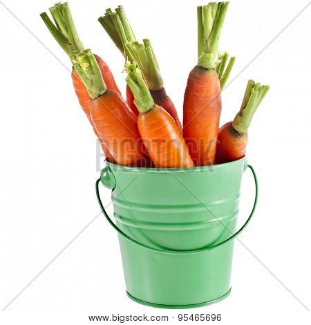 Carrot vegetables in  bucket isolated over white background