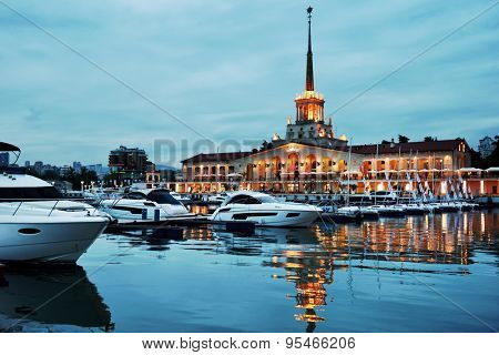 SOCHI, RUSSIA - MAY 16, 2015: Night view to the Grand Marina in the seaport. Premium class yacht marina can accept 209 boats