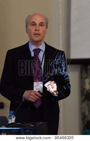 ST. PETERSBURG, RUSSIA - JUNE 22, 2015: Nobel Prize Laureate in chemistry Roger Kornberg during Saint Petersburg scientific forum