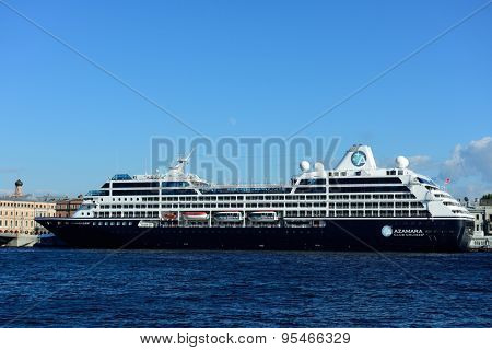 ST. PETERSBURG, RUSSIA - JUNE 27, 2015: Cruise liner Azamara Quest of Azamara Club Cruises moored at English embankment. The ship built in 2012 and can accommodate 686 guests