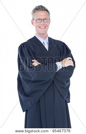 happy lawyer looking at camera on white background