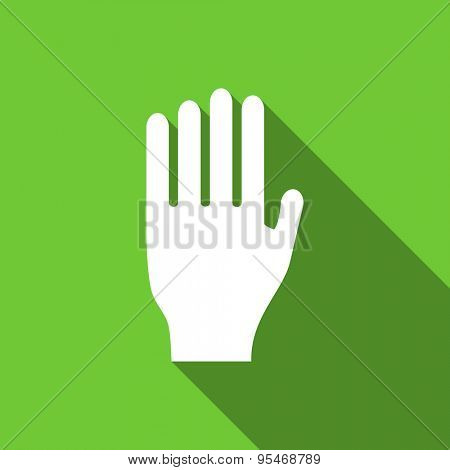 stop flat icon hand sign original modern design flat icon for web and mobile app with long shadow