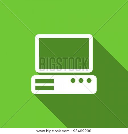 computer flat icon pc sign original modern design flat icon for web and mobile app with long shadow