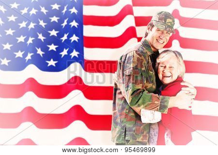 Solider reunited with mother against rippled us flag
