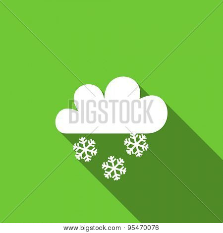 snowing flat icon waether forecast sign original modern design flat icon for web and mobile app with long shadow