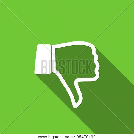 dislike flat icon thumb down sign original modern design flat icon for web and mobile app with long shadow
