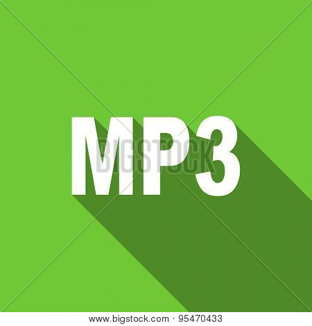 mp3 flat icon  original modern design flat icon for web and mobile app with long shadow